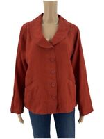 Flax Womens Jacket Shirt Size S Rust Red Linen Lagenlook Button Front Blazer Q1
