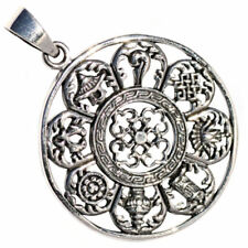 Sterling Silver Ashtamangala 8 Symbols of Good Fortune Tibetan Yogi Pendant P019