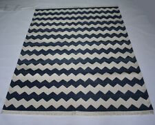 Handmade Zig Zag Modern Cotton Rug Blue Color 4x6 Feet Reversible Area Rug
