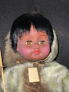 Vintage Eskimo Doll , About 18 in tall , Kaiser MFG Co. Stand Chicago W/ Tag