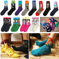 Mens Unisex Women Painting Art Casual Socks Novelty Starry Night Retro Socks