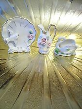 RARE VTG Lefton / Japan Vase Swan Rose Girl Trinket Box & Dish Figurine BEAUTIUL