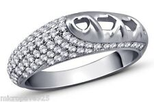 With Pave Set White Cubic Zirconia Fantastic Design Sterling Silver 925 Ring
