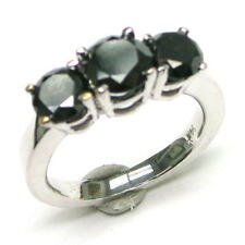 ~3 CARATS TW BLACK POL. DIAMONDS Sterling Silver Ring