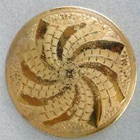 Mascot Face Powder Compact 1950s Pinwheel Swirl Decor 3 in Brass ASB UK Vintage
