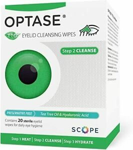 Optase TTO Lid Wipes - 20 eyelid cleansing wipes