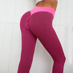 Women High Waist Yoga Pants Anti-Cellulite Leggings Sport Gym Honeycomb Trousers