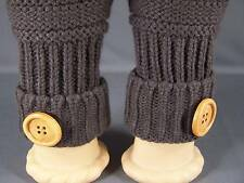 Dark Brown fingerless gloves texting open thumb button knit arm warmer warmers