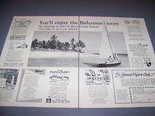 """VINTAGE..BAHAMAS ISLANDS """"SAILBOAT"""" ....SALES AD...RARE! (739D)"""
