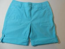 Womens' Shorts Size 4P Liz Claiborne Roll-Tab Turquoise   100232