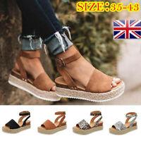 Summer Womens Ankle Strap Flatform Sandals Platform Espadrilles Wedges Shoes MAL