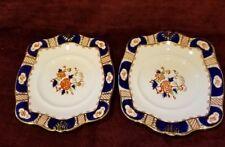 BCM England Tuscan China Set of 2 Scalloped Platters Cobalt Orange Gold