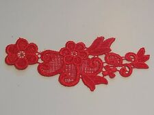 A small piece of red bridal floral lace Applique wedding lace motif .By piece