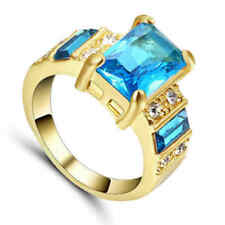 US SELLER AQUAMARINE ANNIVERSARY Ring 10K GOLD Plated SIZE 7 Women's Jewelry