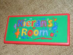 KIERAN'S ROOM DOOR NAME PLATE 3D   PURPLE /RED /YELLOW/GREEN/BLUE