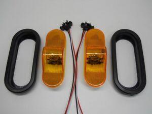 "Amber Incandescent 6"" Oval Truck Semi Trailer Mid Turn Signal Marker Light Kits"