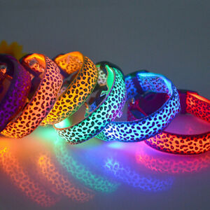 LED Light up Pet collars - Cat/Dog/Puppy/Kitten - Leopard print adjustable