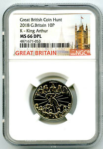 2018 10P GREAT BRITAIN ' K '- KING ARTHUR NGC MS66 DPL BRITISH COIN HUNT