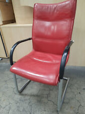 KUSCH+CO RED MEETING CHAIR leather seat with Chrome Cantilever Base