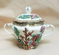 Vintage Coalport China Indian Tree Multicolor Older Scalloped Sugar Bowl w/ Lid