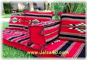 Hand made ARABIC SEATING UNFILLED COVER Red Velvet