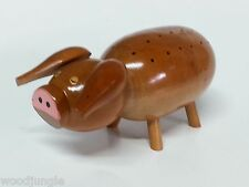 Vintage  PIG BARBECUE  WOOD TOOTHPICK HOLDER  BBQ MID CENTURY COCKTAIL WEENIES