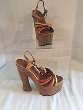 Rare Vintage 1970's- Sky High Wooden Platform Heels - Sandals