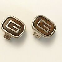 Vintage Givenchy Jewelry Clip On Earrings Brown & Silver Signature G