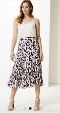 M&S Collection 16 Long Animal Print Purple White Pleated Midi Skirt £29.50