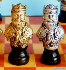 "RENAISSANCE BUST CHESS MEN - CAST STONE WITH METALLIC FINISH K=3¼"" (578)"