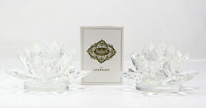 Shannon Crystal by Godinger Crystal Lotus Candle Holders Pair Excellent