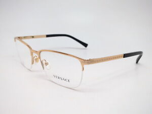 New Authentic Versace VE 1263 Gold 1002 Gold Eyeglasses 55mm Rx-able