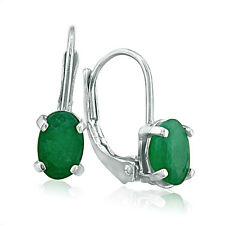 STERLING SILVER 1.25CT NATURAL OVAL EMERALD DROP LEVERBACK EARRINGS