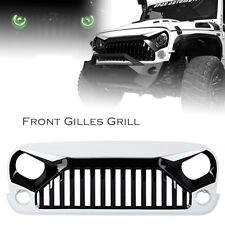 Front Angry Grille Grill White For 2007-2017 Jeep Wrangler JK JKU Rubicon Sport