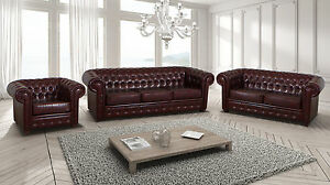 NEW 3 2 Suit or 3+2+1 Sofas Chesterfield Red Ox Blood Dark Brown Leather Seater