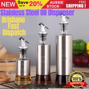 300/500ml Stainless Steel Oil Dispenser Olive Vinegar Kitchen Tool Glass Bottle