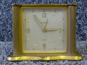 Vintage Looping Antimagnetic Brass Desktop Alarm Clock Made in Switzerland Swiss