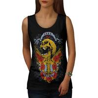 Wellcoda Guns And Roses Skull Womens Tank Top, Music Athletic Sports Shirt