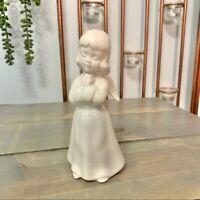 Vintage White Ceramic Praying Angel Figurine Home Decor Collectible