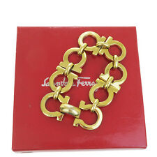 Auth Salvatore Ferragamo Gancini Bangle Bracelet Gold-Tone Accessory 01V164