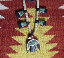 Antique Santo Domingo Pueblo Thunderbird Mosaic Necklace 1930s