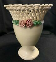 Vintage Woven Porcelain Lattice Reticulated Vase with 3D Roses Made in Italy