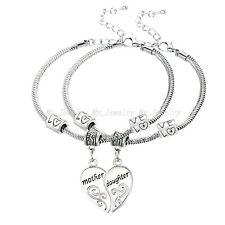 2P Mother Daughter Mom Girl Love Heart Bangle Bracelet Charm Family Jewelry Gift