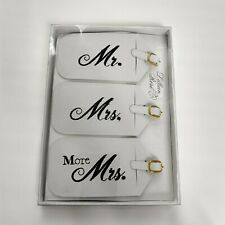 Mr. And Mrs. Luggage tags Marriage Wedding Gift  Embroidered Black And White