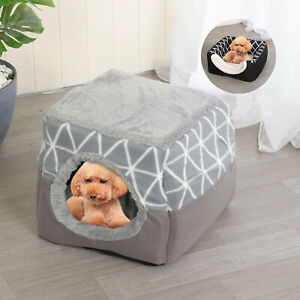 Pet Dog Cat Dual Function Bed House Soft Mat Igloo Basket Bedding Kennel Warm