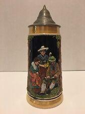 """Vintage German Stein Auf der Alm Da ist's so schön 9"""" Relief style Beer stein"""