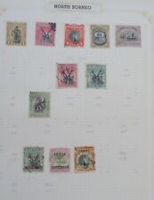 4 x Old album pages of North Borneo stamps all shown