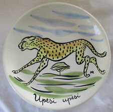 TASCA ITALY HAND PAINTED AFRICAN WILDLIFE POTTERY PLATE - CHEETAH