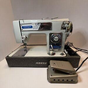 Vintage Morse Fotomatic III 4300 Zig Zag Sewing Machine & Heavy Duty W LID As IS