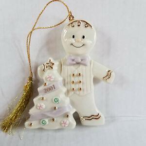 2001 - LENOX Cream Gingerbread & Christmas Tree Ornament - Gold Trim